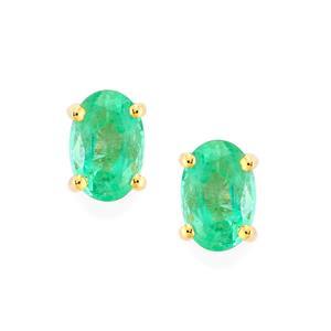 Zambian Emerald Earrings in 9K Gold 0.81ct
