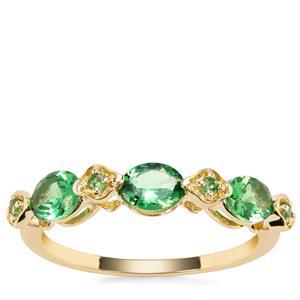 Tsavorite Garnet Ring in 9K Gold 1.10cts