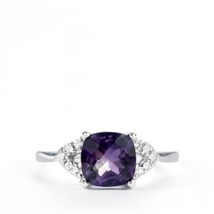 Amethyst & White Topaz Sterling Silver Ring ATGW 1.91cts