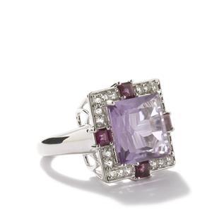 Secret Cross Pink Amethyst, Rhodolite Garnet & White Topaz Sterling Silver Ring ATGW 9.46cts