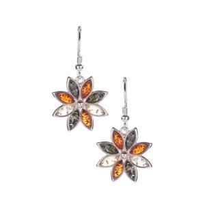 Baltic Cognac, Green & Champagne Amber Flower Earrings in Sterling Silver