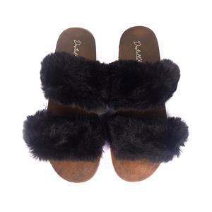 Destello Fluffy Open Toe Two Strap Slippers - Black Colour - Available in S/M/L