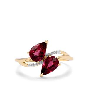 Malawi Garnet Ring with Diamond in 9K Gold 2.06cts