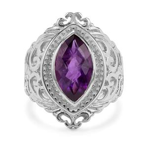 6ct Zambian Amethyst Sterling Silver Couture Ring