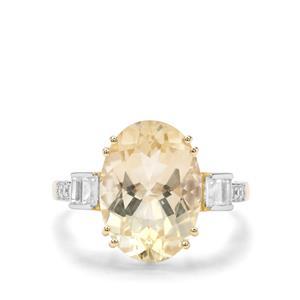 Cuprian Sunstone & White Zircon 9K Gold Ring ATGW 5.68cts