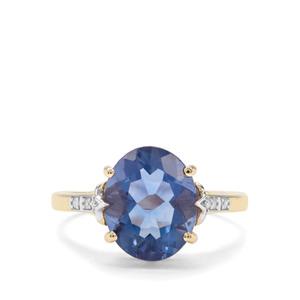 Colour Change Fluorite & Diamond 9K Gold Ring ATGW 4.42cts