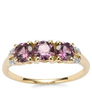 Mahenge Purple Spinel Ring with Diamond in 9K Gold 1.31cts