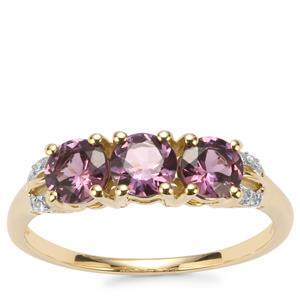 Mahenge Purple Spinel Ring with Diamond in 10k Gold 1.31cts