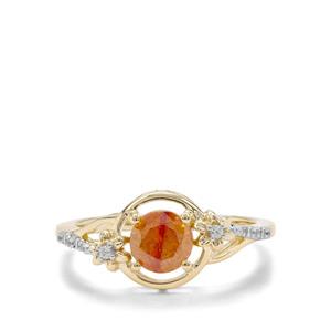 Aliva Sphalerite & White Zircon 9K Gold Ring ATGW 1.22cts