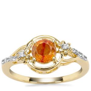 Aliva Sphalerite & White Zircon 9K Gold Ring 1.22cts