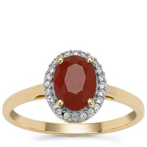 Burmese Ruby Ring with White Zircon in 9K Gold 1.80cts