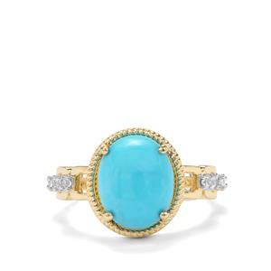 Sleeping Beauty Turquoise & Ceylon White Sapphire 9K Gold Ring ATGW 3.27cts