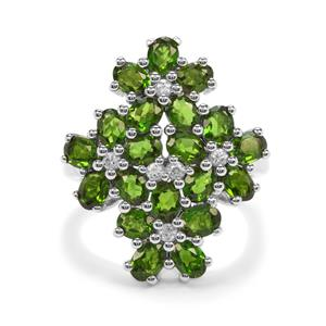 Chrome Diopside Ring with White Zircon in Platinum Plated Sterling Silver 3.39cts