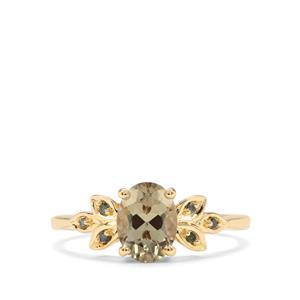 Csarite® & Green Diamond 9K Gold Ring ATGW 1.34cts