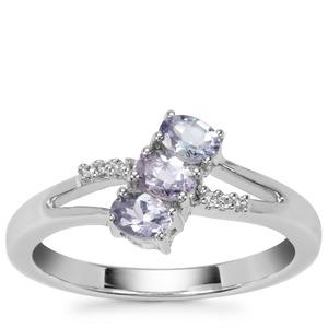 Bi Colour Tanzanite Ring with White Zircon in Sterling Silver 0.65ct
