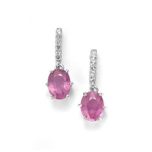 Ilakaka Hot Pink Sapphire Earrings with White Topaz in Sterling Silver 3.38cts (F)