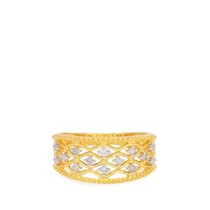 Diamond Ring in Gold Plated Sterling Silver 0.15ct