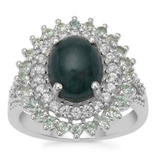 Grandidierite Ring with Alexandrite & White Zirocn in Sterling Silver 2.55cts