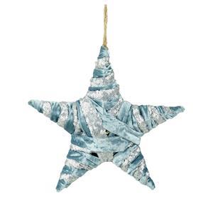 Large Blue Velvet & Silver Star Decoration  24cm