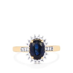 Daha Kyanite Ring with White Zircon in 10k Gold 1.94cts
