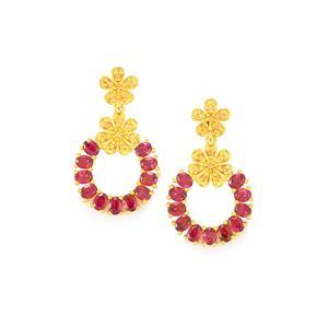 Rhodolite Garnet Earrings with Orange Sapphire in Gold Vermeil 5.63cts