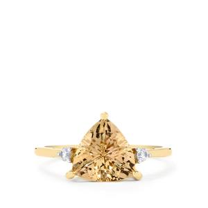 Champagne Danburite Ring with White Zircon in 9K Gold 2.40cts