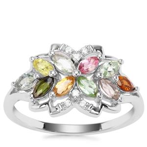Tutti-Fruiti Tourmaline Ring with White Zircon in Sterling Silver 0.87cts