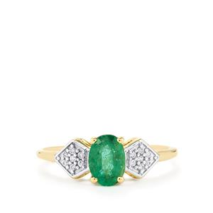 Zambian Emerald Ring with White Zircon in 10k Gold 0.81cts