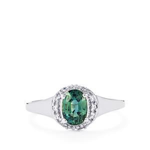 Madagascan Blue Sapphire & White Zircon 9K White Gold Ring ATGW 1.13cts