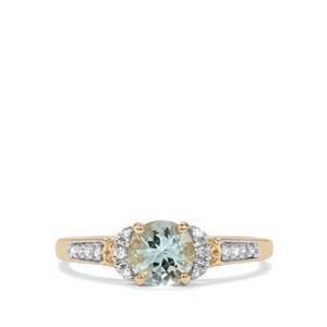 Aquaiba Beryl & Diamond 9K Gold Ring ATGW 0.76cts