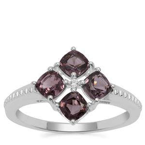 Burmese Spinel Ring with White Zircon in Sterling Silver 1.60cts