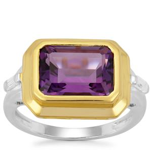 Bahia Amethyst Ring with White Zircon in Two Tone Gold Plated Sterling Silver 3.80cts