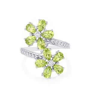 Changbai Peridot Ring with White Topaz in Sterling Silver 2.53cts