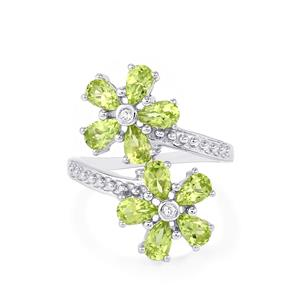 Changbai Peridot & White Topaz Sterling Silver Ring ATGW 2.53cts