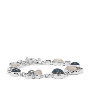 Shattuckite, Rainbow Moonstone & Sky Blue Topaz Sterling Silver Aryonna Bracelet ATGW 27cts