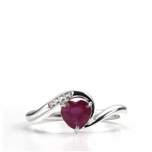 Malagasy Ruby & White Topaz Sterling Silver Ring ATGW 1.11cts (F)
