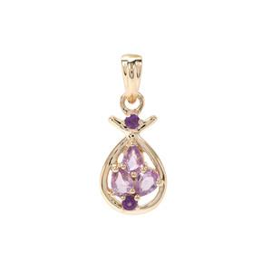 Purple Sapphire & Zambian Amethyst 9K Gold Pendant ATGW 0.49ct