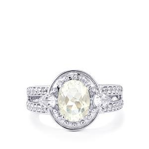 Itinga Petalite & White Topaz Sterling Silver Ring ATGW 2.13cts