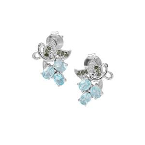 Madagascan Blue Apatite Earrings with Green Diamond in Sterling Silver 0.93cts