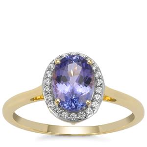 AA Tanzanite Ring with White Zircon in 9K Gold 1.45cts
