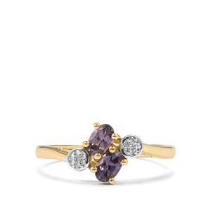 Mahenge Blue Spinel & Diamond 10K Gold Ring ATGW 0.54cts