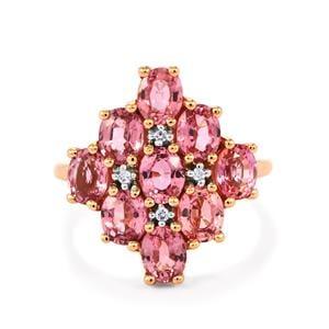 Pink Sapphire & Diamond 14K Rose Gold Ring ATGW 4.38cts