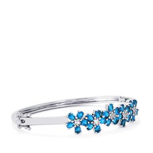 Neon Apatite & White Topaz Sterling Silver Oval Bangle ATGW 4.89cts