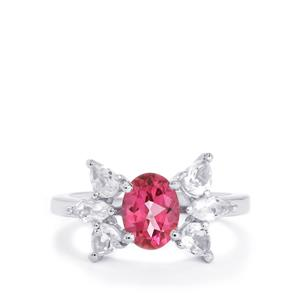 2.48ct Mystic Pink & White Topaz Sterling Silver Ring
