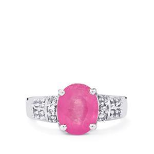 Ilakaka Hot Pink Sapphire & White Topaz Sterling Silver Ring ATGW 4cts (F)