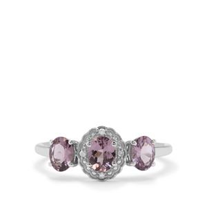 Mahenge Purple Spinel Ring with Diamond in 9K White Gold 1.11cts