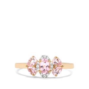 Imperial Pink Topaz & White Zircon 9K Gold Ring ATGW 0.95cts