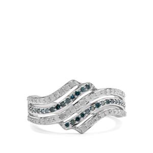 1/2ct White Diamond & Blue Diamond Sterling Silver Ring