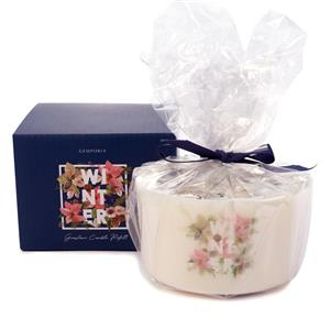 Winter Triple wick Candle Refill, Winter Fragrance with Snowflake Obsidian, Blue Lace Agate, and Snow Quartz ATGW 30cts