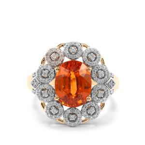 Mandarin Garnet Ring with Diamond in 18K Gold 5.40cts